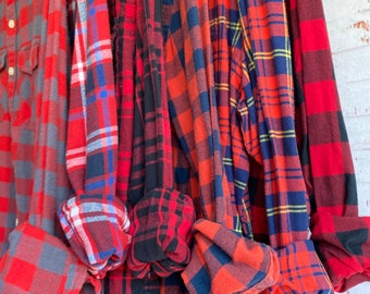 6 vintage flannel shirts curated as a set, mismatched bridesmaid flannels, color is fire red plaids, S/M small medium
