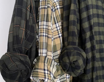 2X vintage flannel shirts curated as a set of 3, colors are olive green and sage, XXL