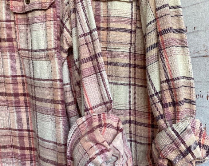 Large matching vintage flannel shirts, set of 2 blush pink mauve plaid, L