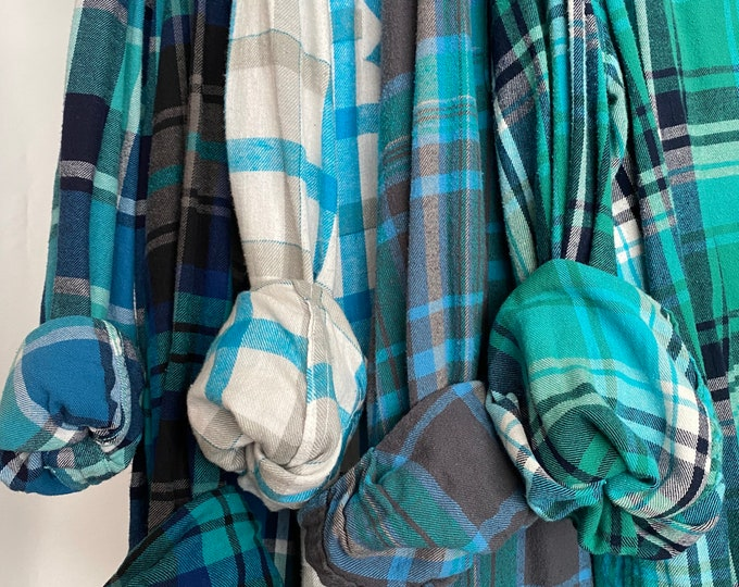 L/XL vintage flannel shirts curated as a set of 5, colors are teal turquoise aqua blue greens, large Xlarge, bridesmaid flannels