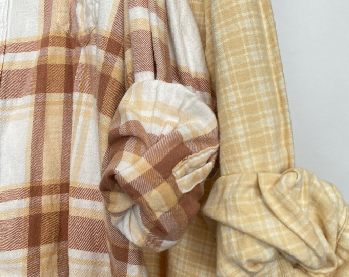 2X vintage flannel shirts curated as a set of 2, white with brown and yellow, bridesmaid flannels, wedding robe, bride flannel
