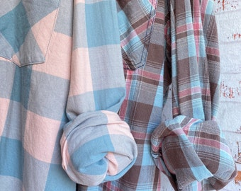 XL vintage flannel shirts, set of 2 boyfriend flannels, colors pale blue and pink plaid, Xlarge