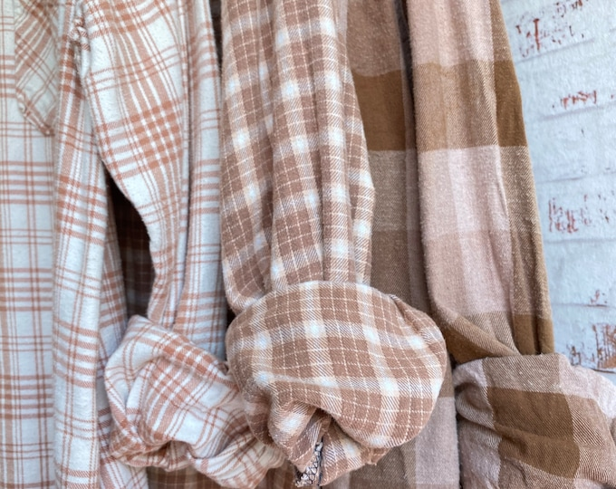 set of 3 flannels, colors are nude tan and mocha, sizes include medium large and XL, vintage mismatched flannel shirts, bridesmaid