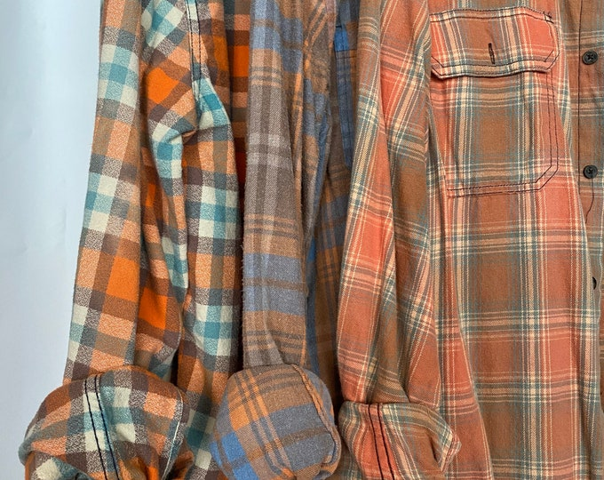 M/L vintage flannel shirts curated as a set of 3 in cantaloupe melon and blue plaid
