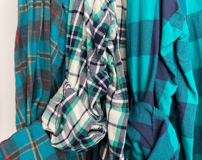 2X vintage flannel shirts curated as a set of 3 teal with bride shirt