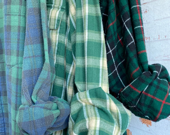XL vintage flannel shirts curated as a set of 3 green plaid, extra large