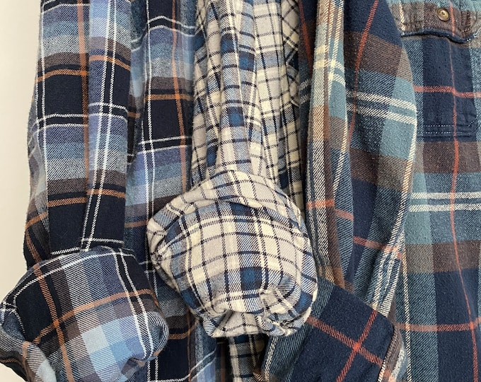 M/L vintage flannel shirts, set of 3 bridesmaid flannels, colors are dusty blue and brown plaid, medium large