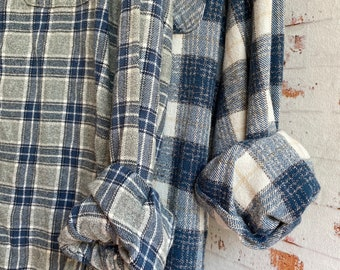 Small and 2X vintage flannel shirt, set of 2, colors are dusty blue and gray plaid, couples shirts