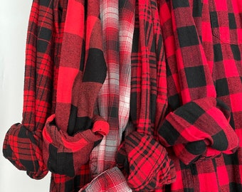 5 Medium flannel shirts, set of mismatched bridesmaid flannels, color red plaids with bride shirt