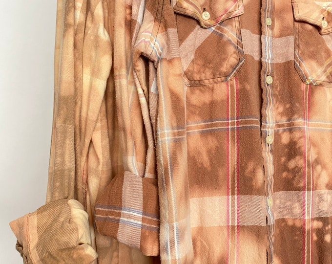 Medium vintage flannel shirts, set of 2, bleach distressed gold plaid flannels