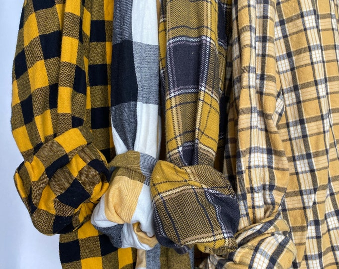 bridesmaid flannels curated as a set of 4, colors are yellow black and white, sizes include small medium and Xlarge, vintage flannel