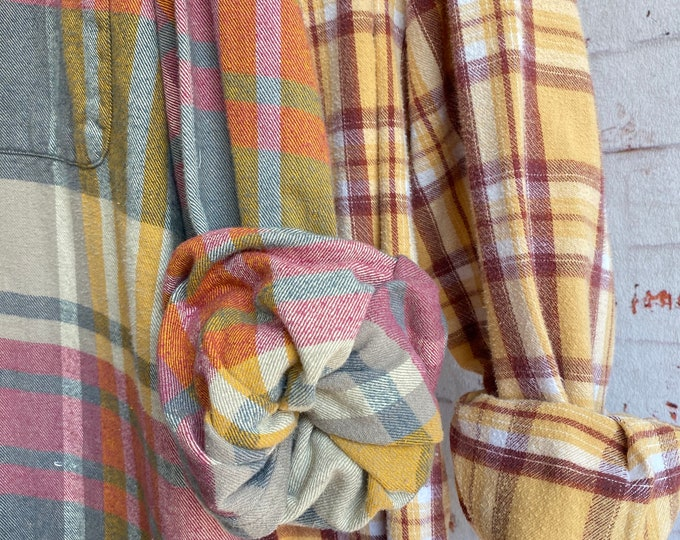 set of 2 flannel shirts, vintage flannels, colors are yellow mustard and red burgundy, size XL and medium tall, couples shirt