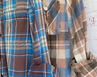 XS/S vintage flannel shirts curated as a set of 2 in cocoa brown and blue plaid