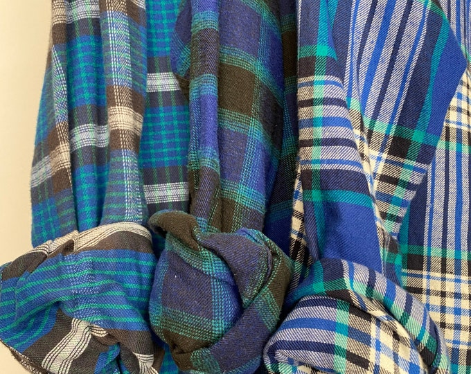 Medium vintage flannel shirts, set of 3 bridesmaid flannels, color is teal and royal blue plaid with turquoise