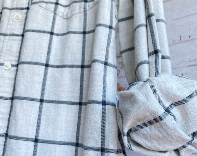 Medium vintage flannel shirt, white flannel with thin gray plaid, bride getting ready button down, MED