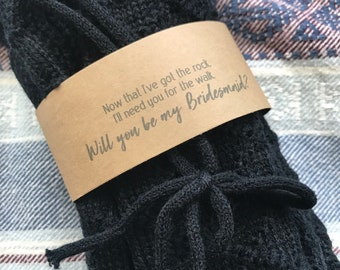 Knee High Cable Knit Socks in Black, Bridesmaid Proposal Gift, Will you be my Bridesmaid, Rock Walk Socks