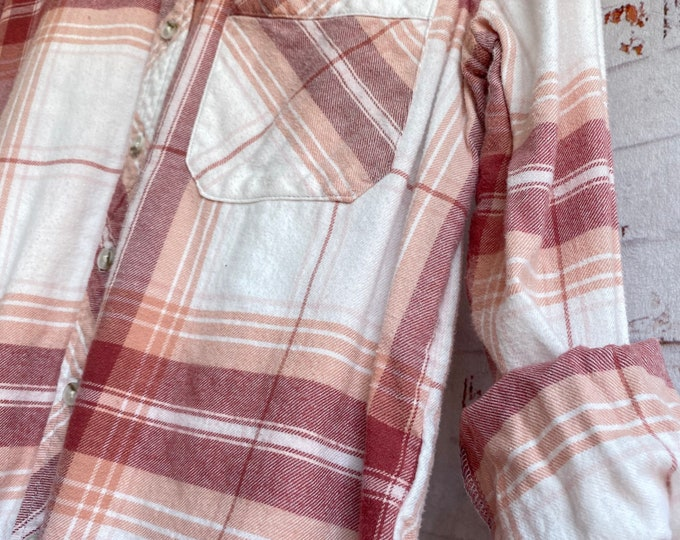 XS vintage flannel shirt, white with blush and burgundy plaid, bride getting ready button down