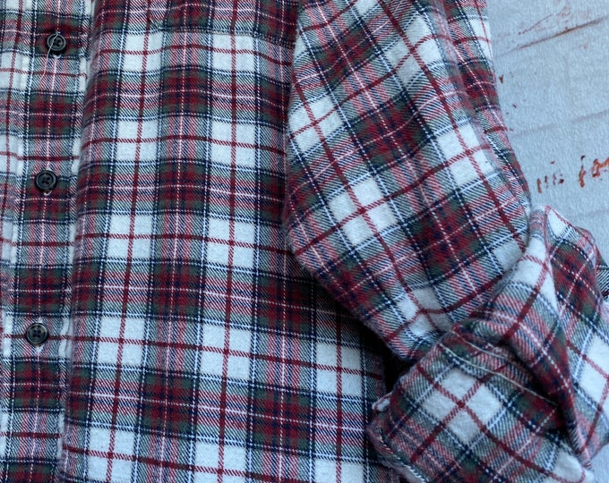 XL Tall vintage flannel shirt white with burgundy and green plaid, XLarge long nightshirt
