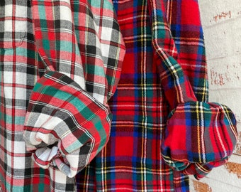 S/M vintage flannel shirts curated as a set of 2 in holiday red plaid, small medium