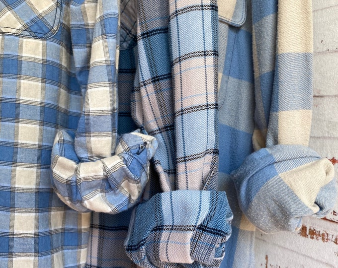 M/L vintage flannel shirts, set of 3 bridesmaid flannels, colors are dusty blue and crean plaid, medium large