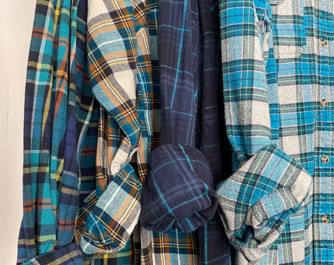 Small vintage flannel shirts curated as a set of 4 in teal blue plaids