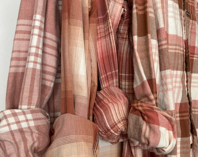 Small vintage flannel shirts curated as a set of 4 in blush and rose gold plaid