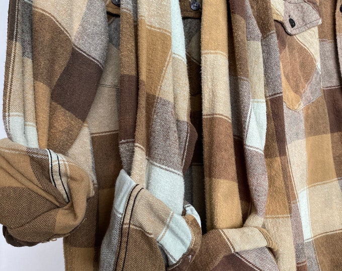 matching bridesmaid flannels curated as a set of 3, sizes include small and large, vintage flannel, colors are sage and copper