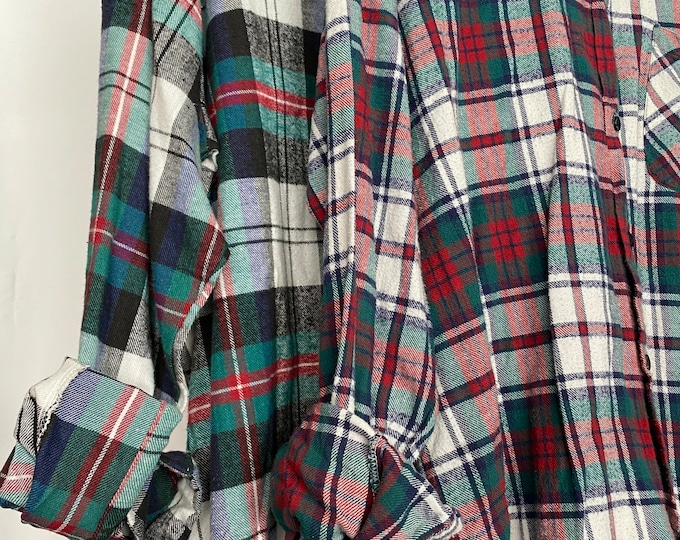 2 Nightshirt Style vintage flannel shirts, set of bridesmaid robes, burgundy and emerald green, M/L medium large long length
