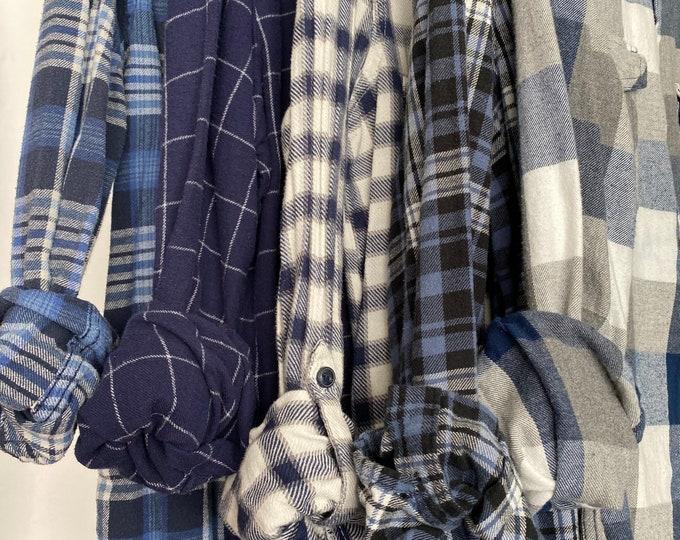 Small vintage flannel shirts, set of 5 blue plaids, bridesmaids flannels