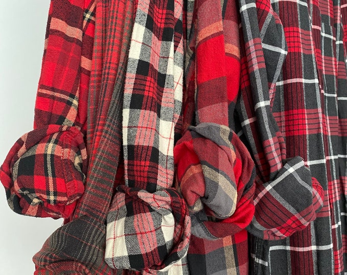Medium vintage flannel shirts curated as a set of 5 bridesmaid flannels, color fire red plaids with bride shirt