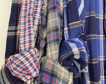 L/XL vintage flannel shirts, set of 4 boyfriend flannels, colors royal blue navy and gray, large xlarge
