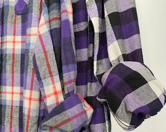 2 Medium vintage flannel shirts, set of bridesmaid flannels, colors are purple black and white plaids