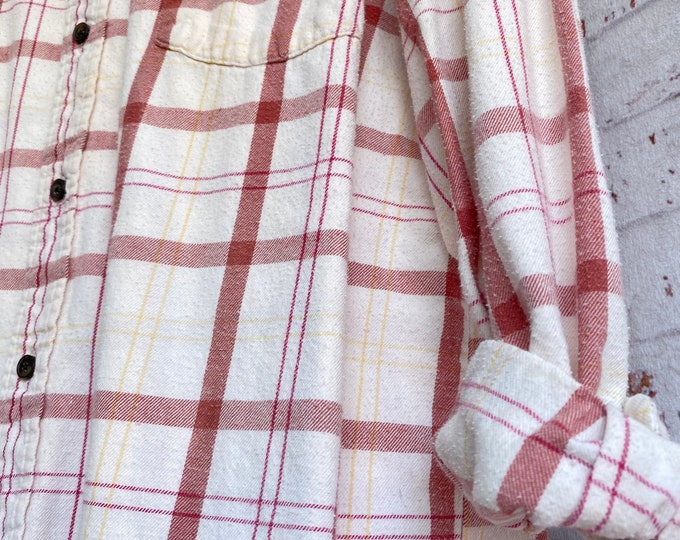 Large vintage flannel shirt, cream with marsala wine plaid, bride getting ready button down, L LG