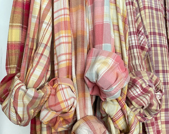 7 bridesmaid flannels curated as a set, colors are pink and yellow, sizes include small medium large and Xlarge, vintage flannel