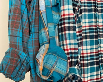 XL vintage flannel shirts, set of 3 bridesmaid flannels, color is aqua marine teal blue plaid, xlarge