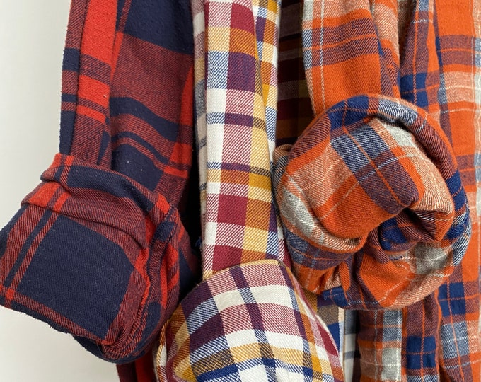 XL vintage flannel shirts curated as a set of 3 in fall colors of burnt orange, burgundy, navy and gold plaids