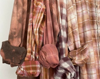 Small vintage flannel shirts curated as a set of 5, bleach distressed flannels, colors are blush pink purple and rose gold plaid
