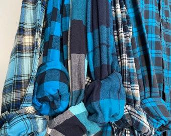 LARGE vintage flannel shirts, set of 6 bridesmaid flannels, color is aqua marine teal blue plaid