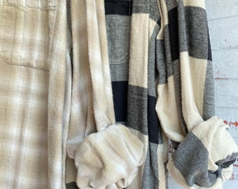 Large and 2X vintage flannel shirt set of 2, nude and black plaid, couples shirts, unisex