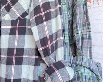 Small and Medium vintage flannel shirt, set of 2, sage green gray and black plaid, couples shirts