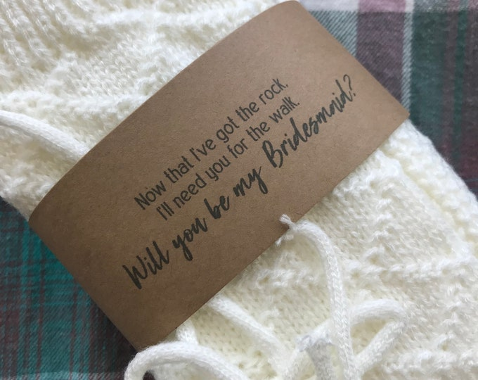 Featured listing image: Knee High Cable Knit Socks in Cream, Bridesmaid Proposal Gift, Will you be my Bridesmaid, Rock Walk Socks