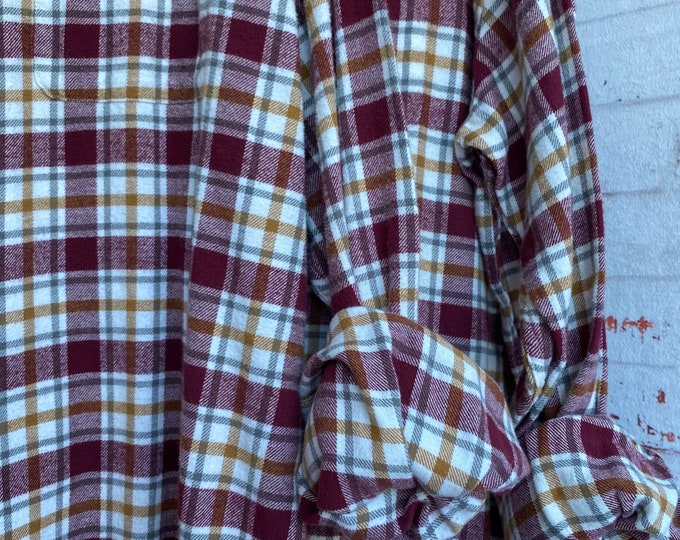XL Tall matching flannel shirt white with burgundy and gold plaid, XLarge long nightshirt, set of 2
