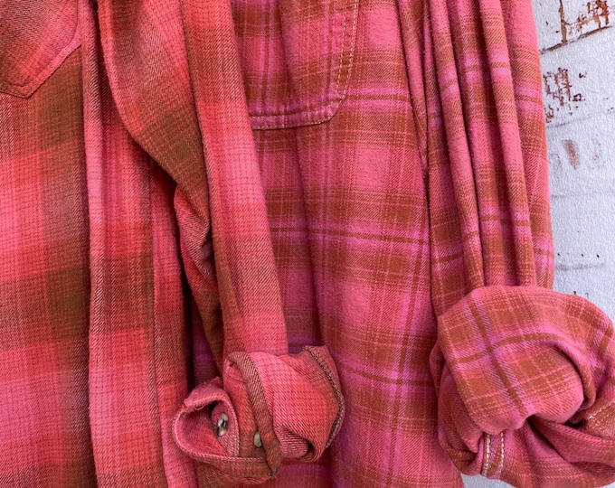 Small and Large overdyed vintage flannel shirt, set of 2, pink sherbet with scarlet, couples shirts