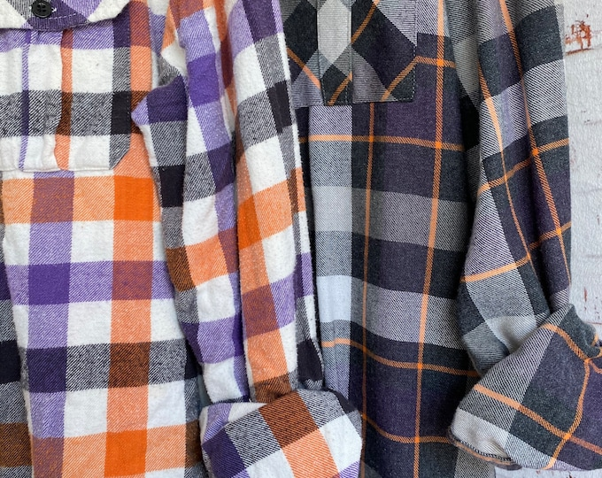 M/L vintage flannel shirts curated as a set of 2 in purple orange and black