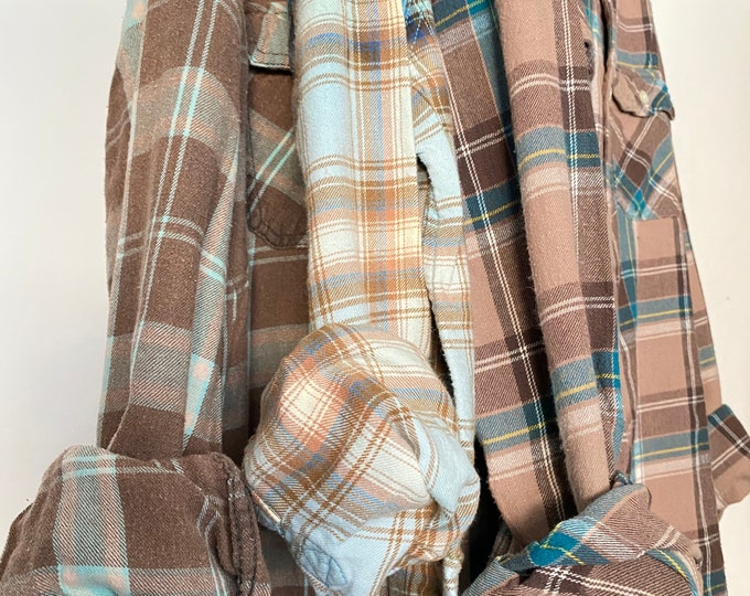 M/L vintage flannel shirts, set of 3 bridesmaid flannels, colors are taupe and blue plaid, medium large