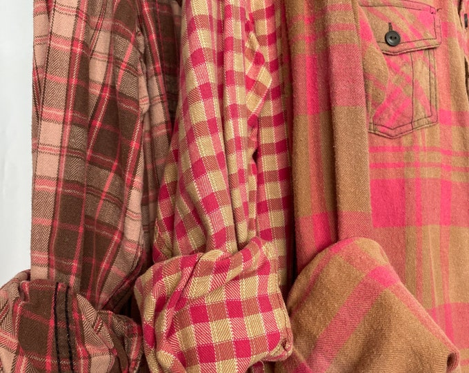 LARGE vintage flannel shirts curated as a set of 3 bridesmaids flannels, colors are pink brown tan and gold