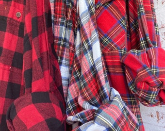 3X vintage flannel shirts curated as a set of 3 holiday plaid with bride shirt XXXL big and tall