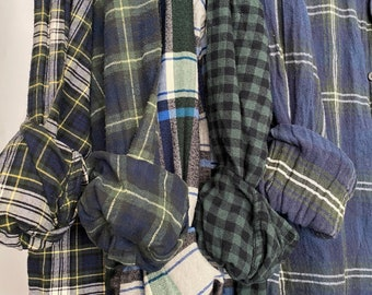 5 vintage flannel shirts curated as a set of bridesmaid flannels, colors are blue and green, L/XL large Xlarge