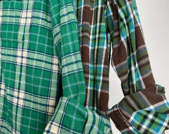 2 vintage flannel shirts curated as a set, colors are jungle green brown and aqua blue, M/L medium large boyfriend flannels
