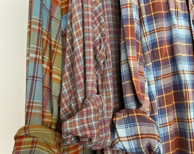 M/L Nightshirt Style vintage flannel shirts curated as a set of 3 in dusty blue, sage green,  rust, and cocoa